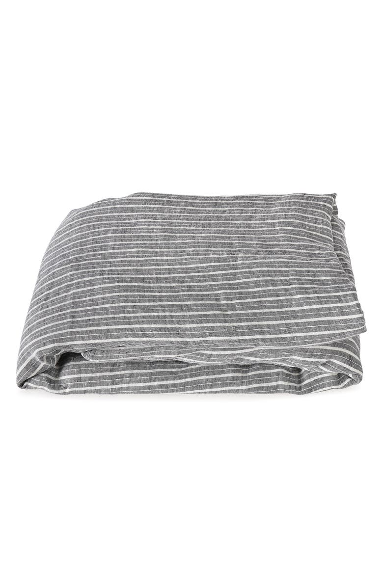 MATOUK Tristen Linen Fitted Sheet, Main, color, ANTHRACITE/ WHITE