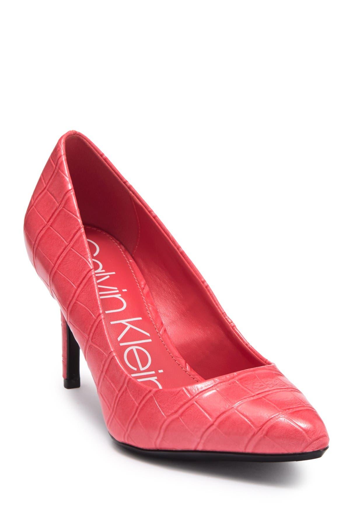 Image of Calvin Klein Kamara Croc Embossed Leather Pump