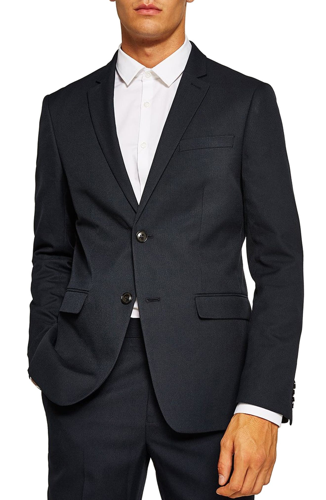 Skinny Fit Textured Suit Jacket, Main, color, DARK BLUE