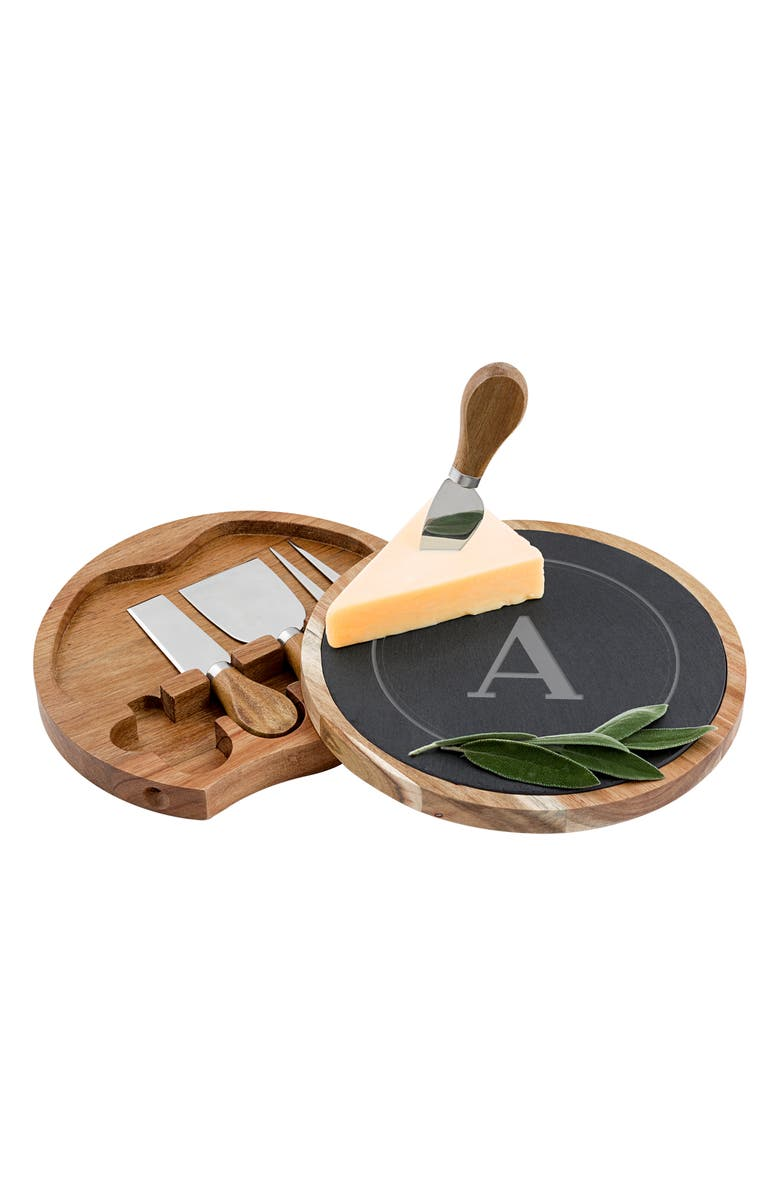 CATHY'S CONCEPTS Monogram 5-Piece Cheese Board & Utensil Set, Main, color, BROWN - A