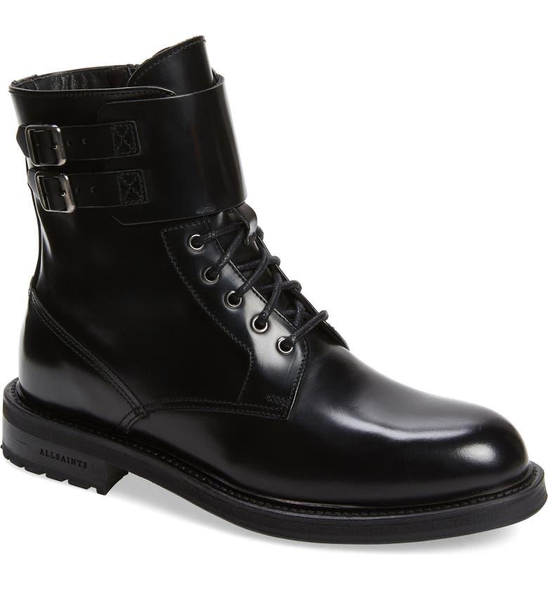 ALLSAINTS Brigade Combat Boot, Main, color, BLACK LEATHER