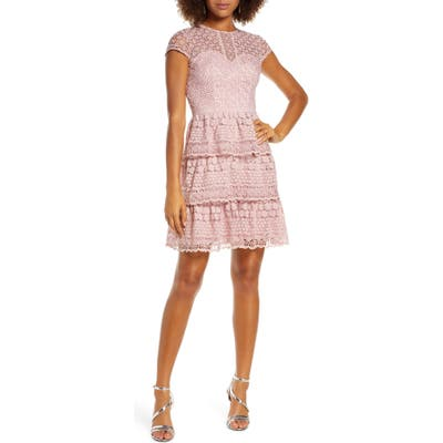 Chi Chi London Sloanie Embroidered Mesh Party Dress, Pink