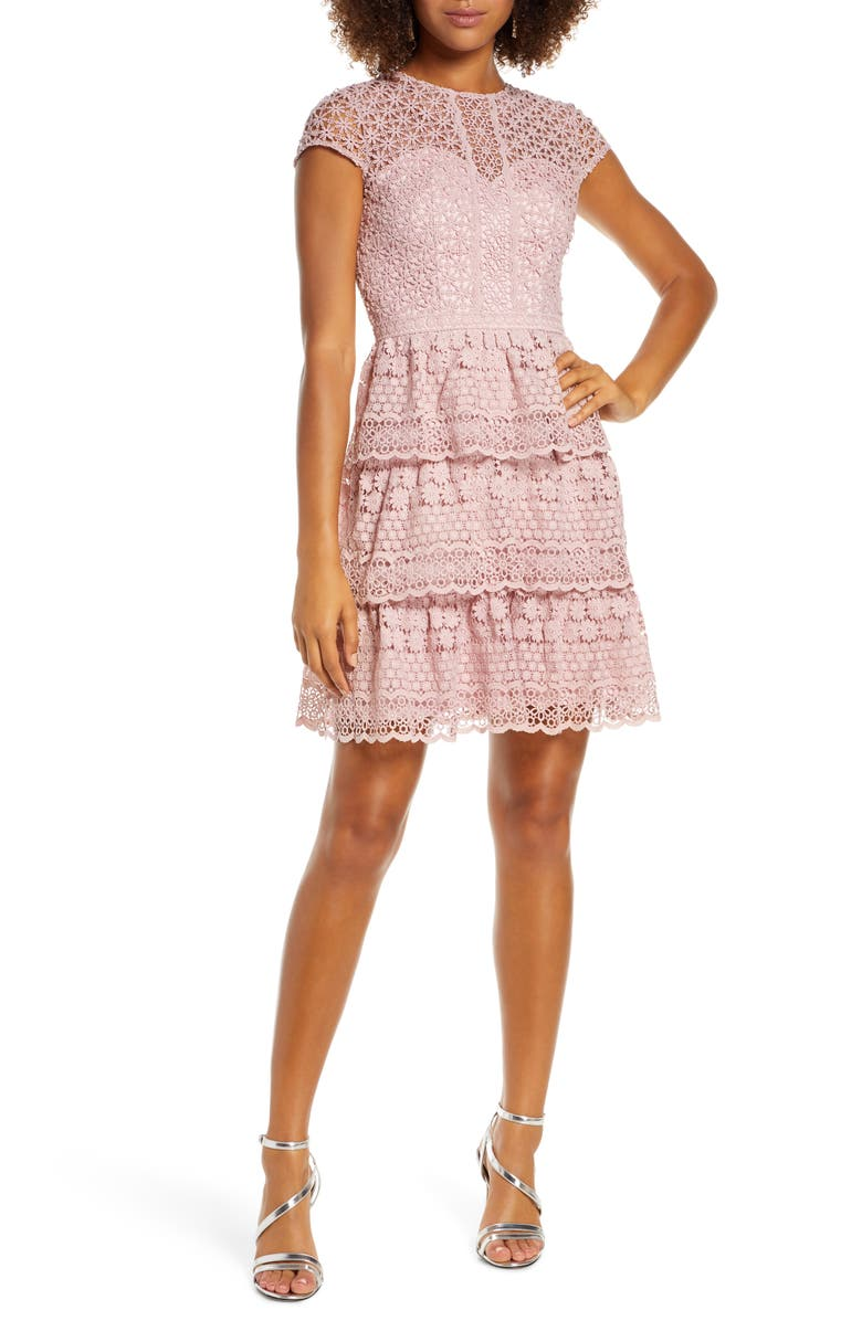 CHI CHI LONDON Sloanie Embroidered Mesh Party Dress, Main, color, MINK