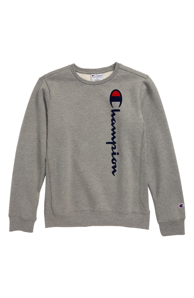 CHAMPION Flocked Logo Sweatshirt(Big Boys), Main, color, 050