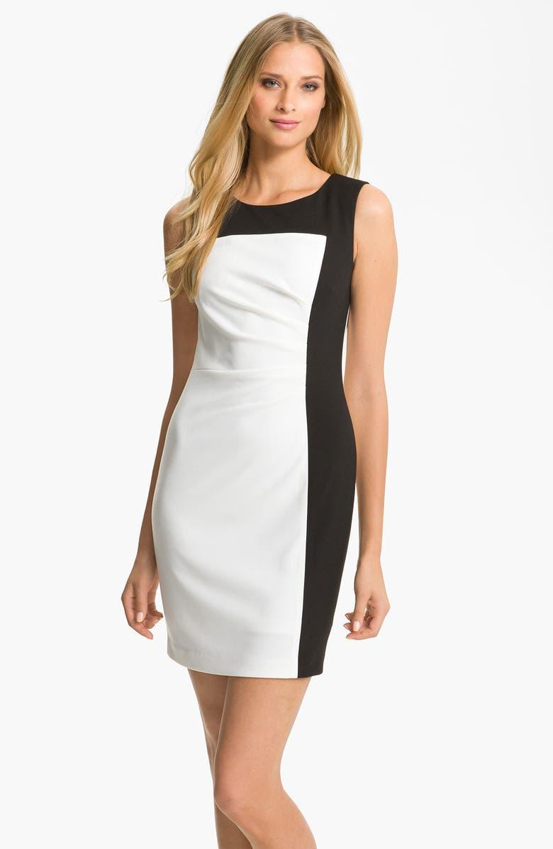 CALVIN KLEIN Colorblock Ponte Sheath Dress, Main, color, 900