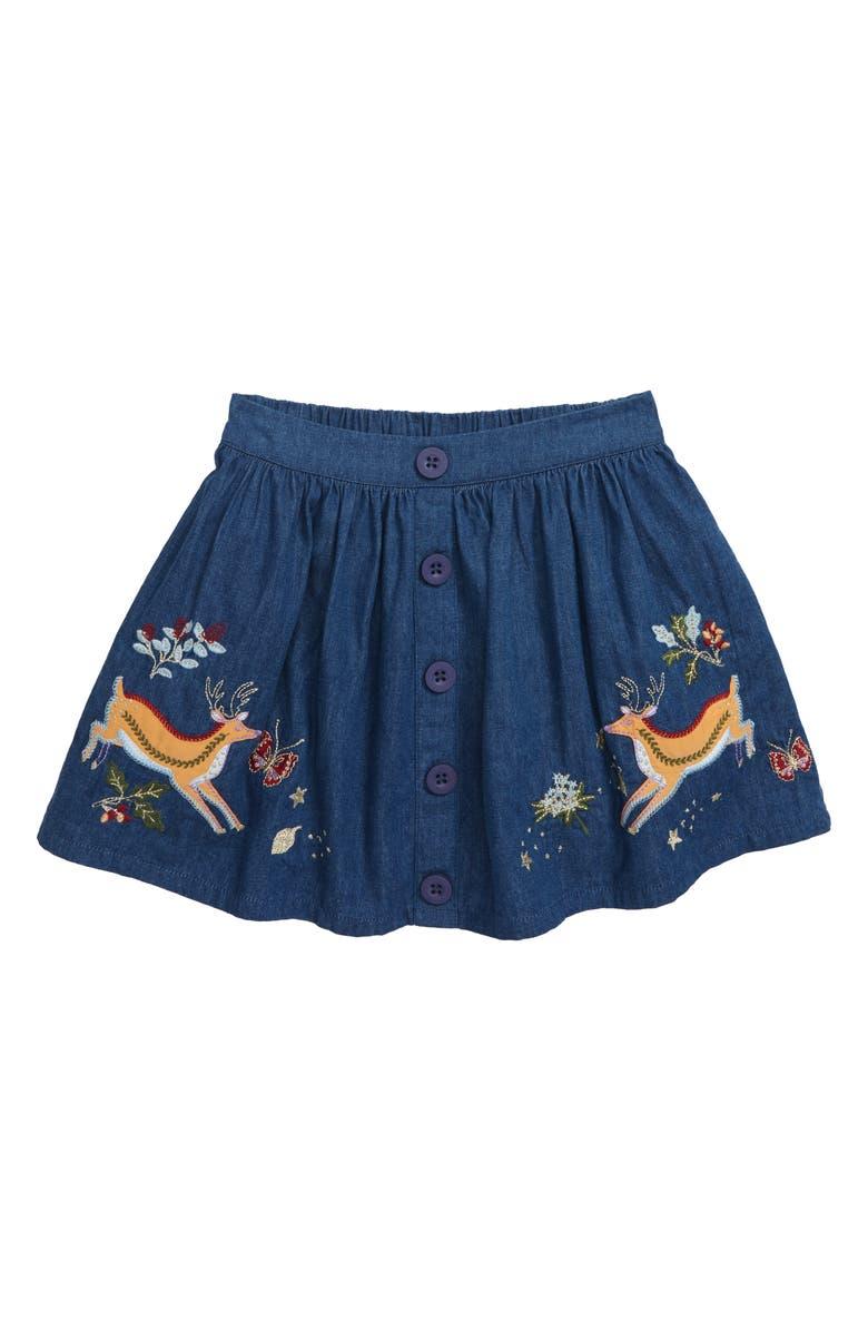 MINI BODEN Embroidered Appliqué Skirt, Main, color, BLUE COLLEGE DEER