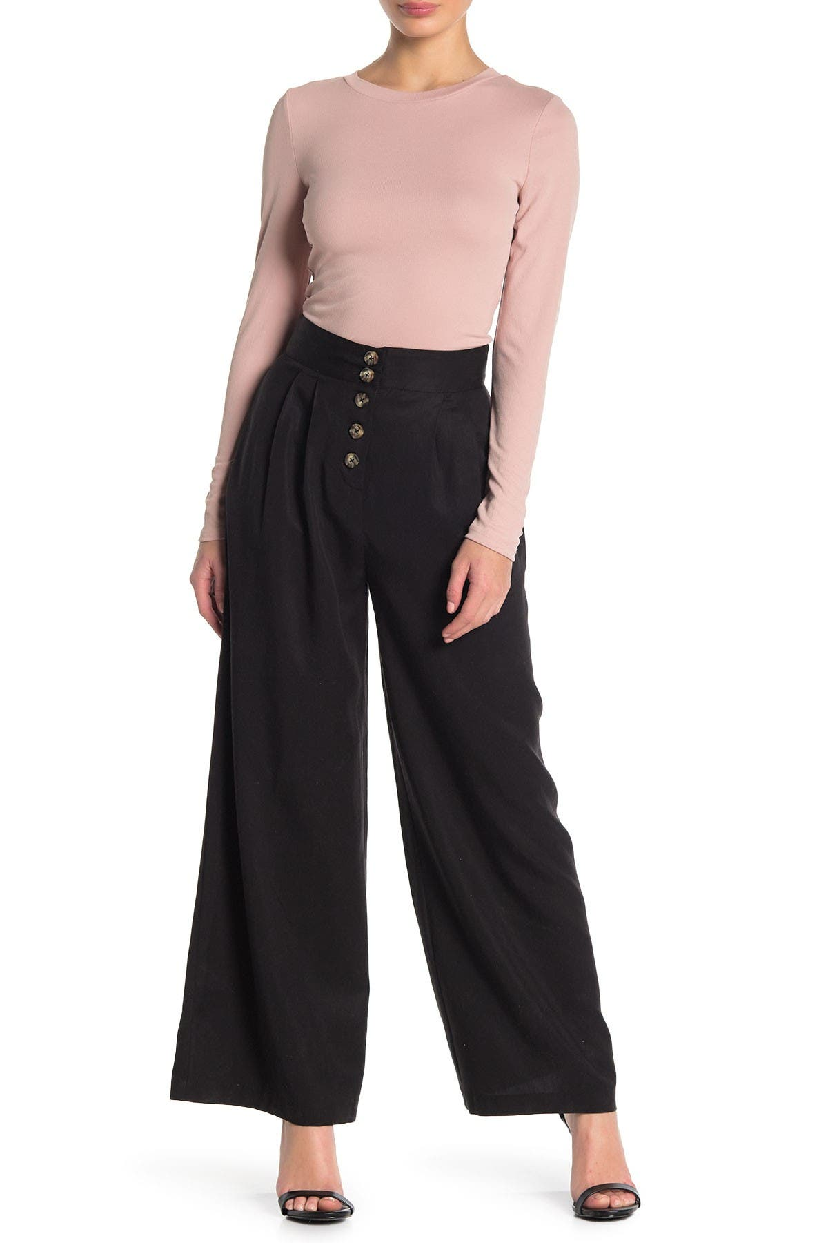 Image of Socialite Button Fly High Waist Wide Leg Pants