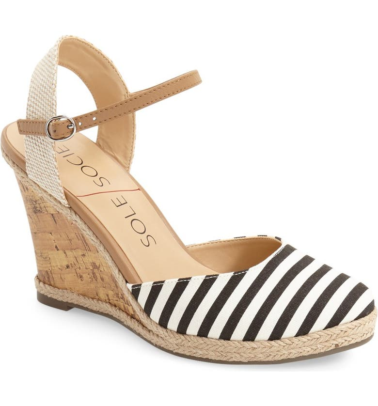 SOLE SOCIETY 'Lucy' Wedge Sandal, Main, color, 001