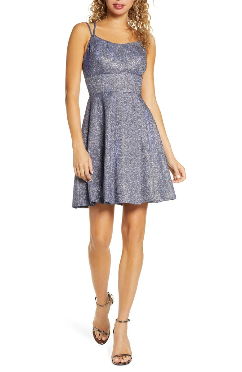 MORGAN & CO. Lace-Up Back Metallic Skater Dress, Main, color, 430