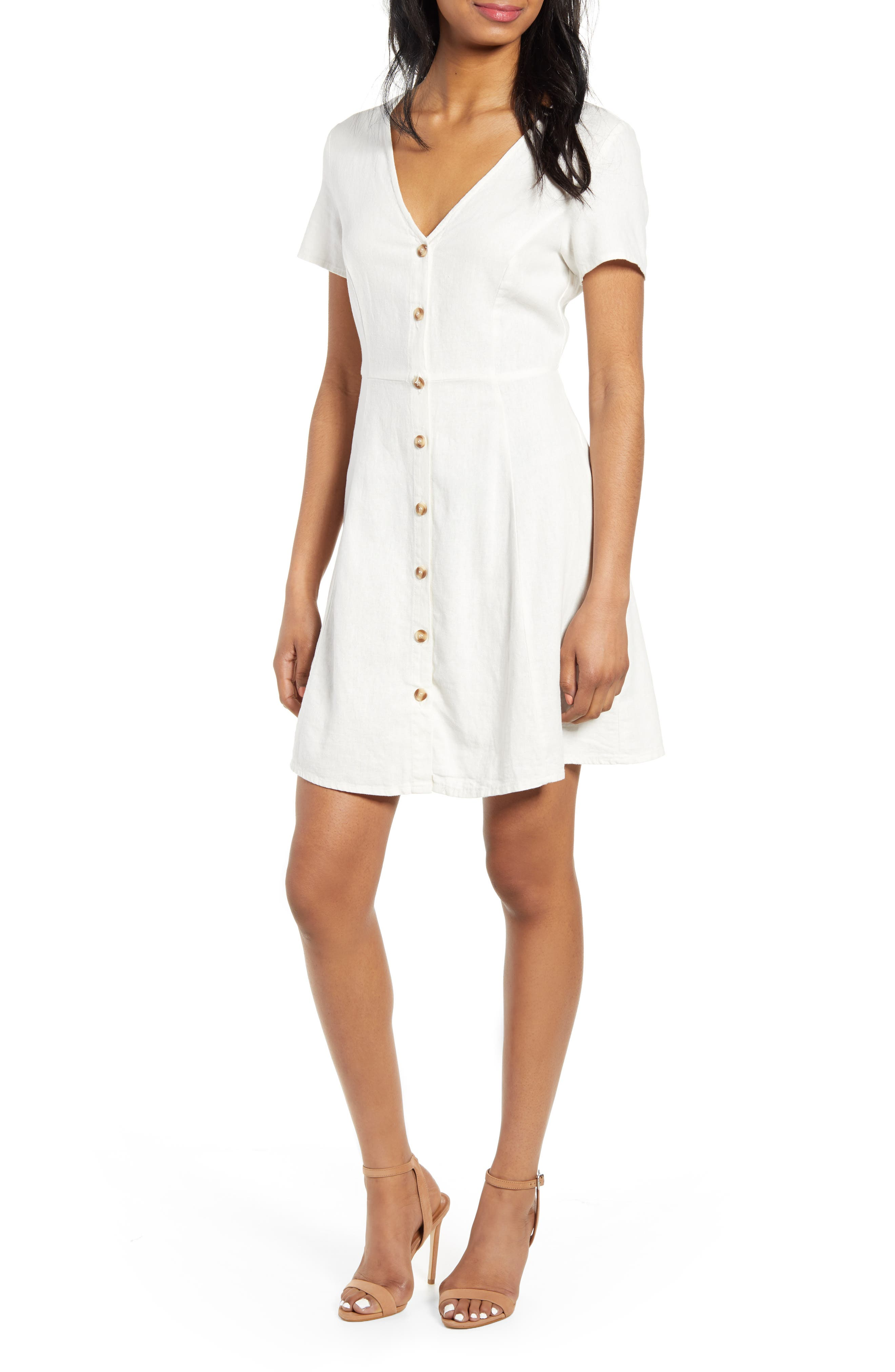 Anna Button Through Fit & Flare Dress, Main, color, SNOW WHITE