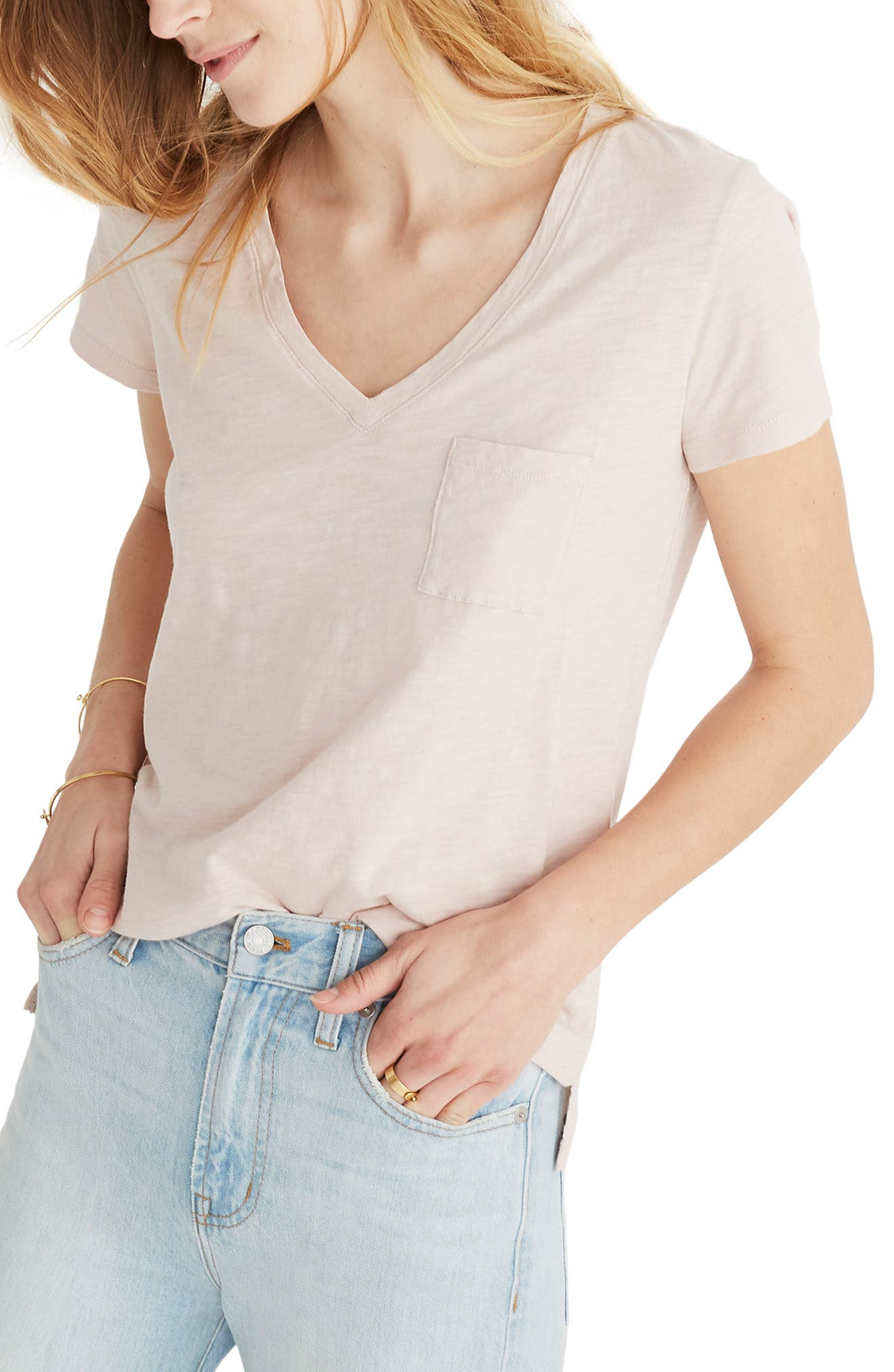 Madewell Cottons WHISPER V-NECK POCKET T-SHIRT