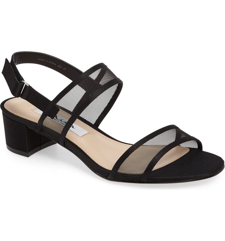 NINA Ganice Mesh Strap Sandal, Main, color, BLACK SATIN