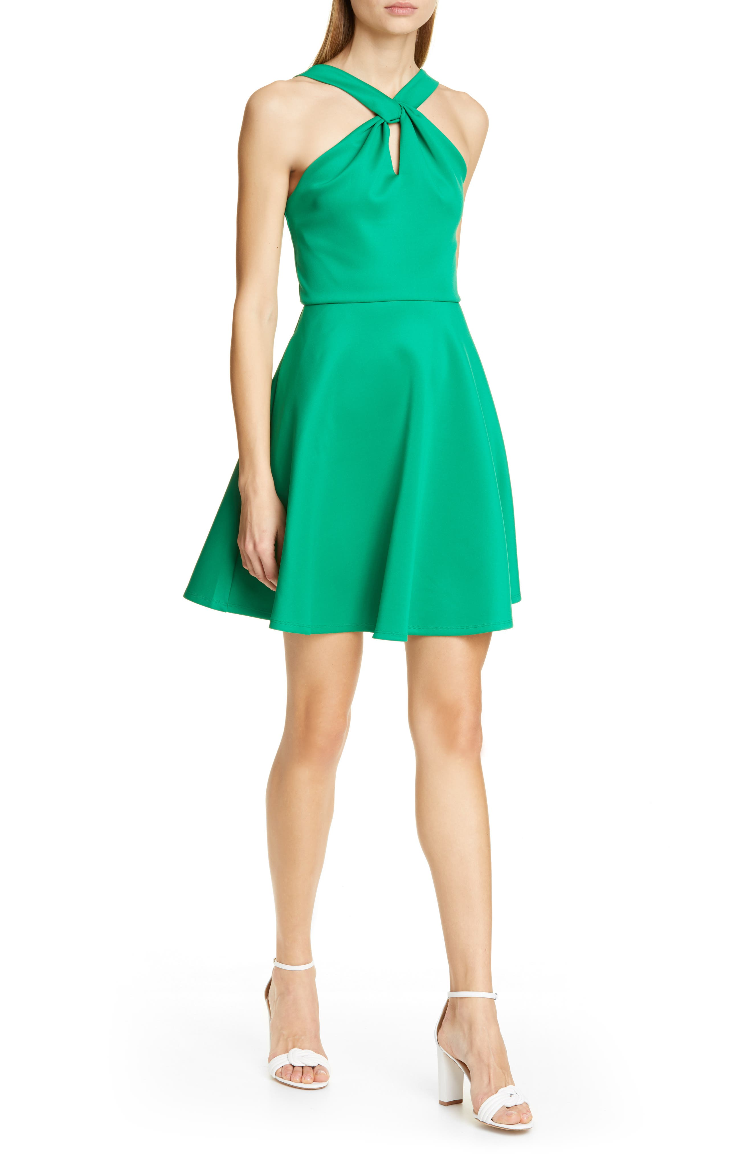 Ted Baker London Freeda Twist Neck Skater Dress, Green
