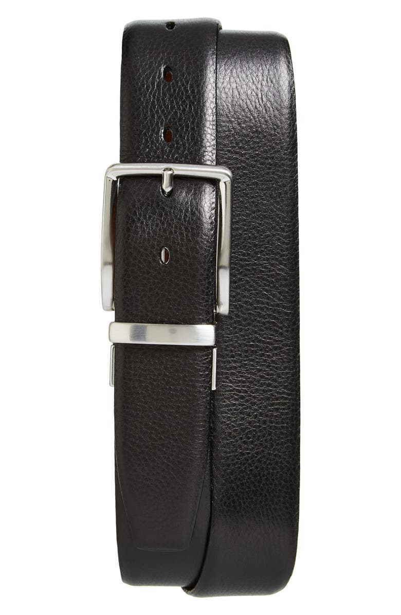 TORINO Reversible Leather Belt, Main, color, BLACK/ COGNAC