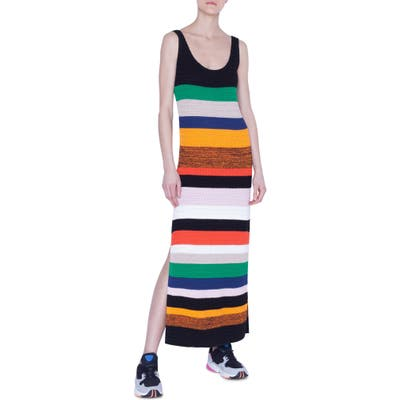 Akris Punto Multicolor Stripe Tank Sweater Dress, Yellow