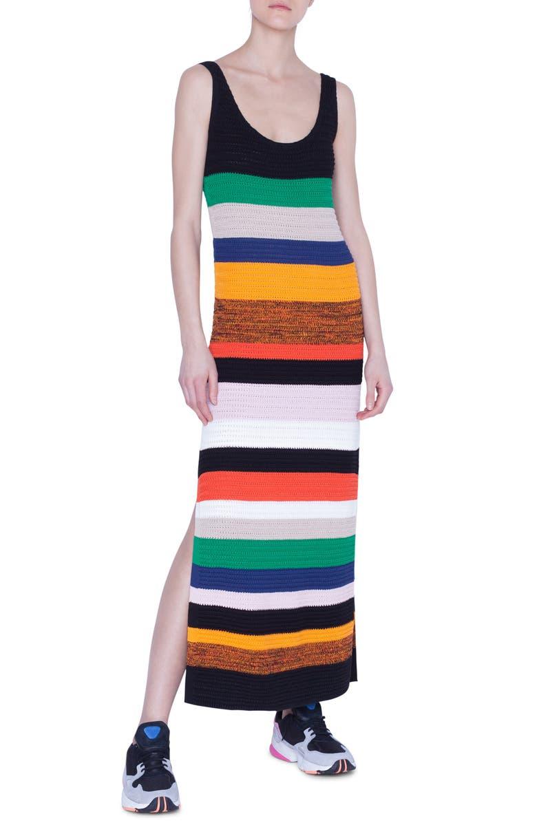 AKRIS PUNTO Multicolor Stripe Tank Sweater Dress, Main, color, SUN/ BLACK/ CREAM