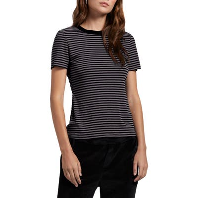 Michael Stars Stripe Crewneck Tee, Size One Size - Black