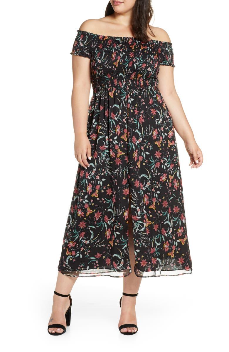 CECE Smocked Off the Shoulder Midi Dress, Main, color, RICH BLACK