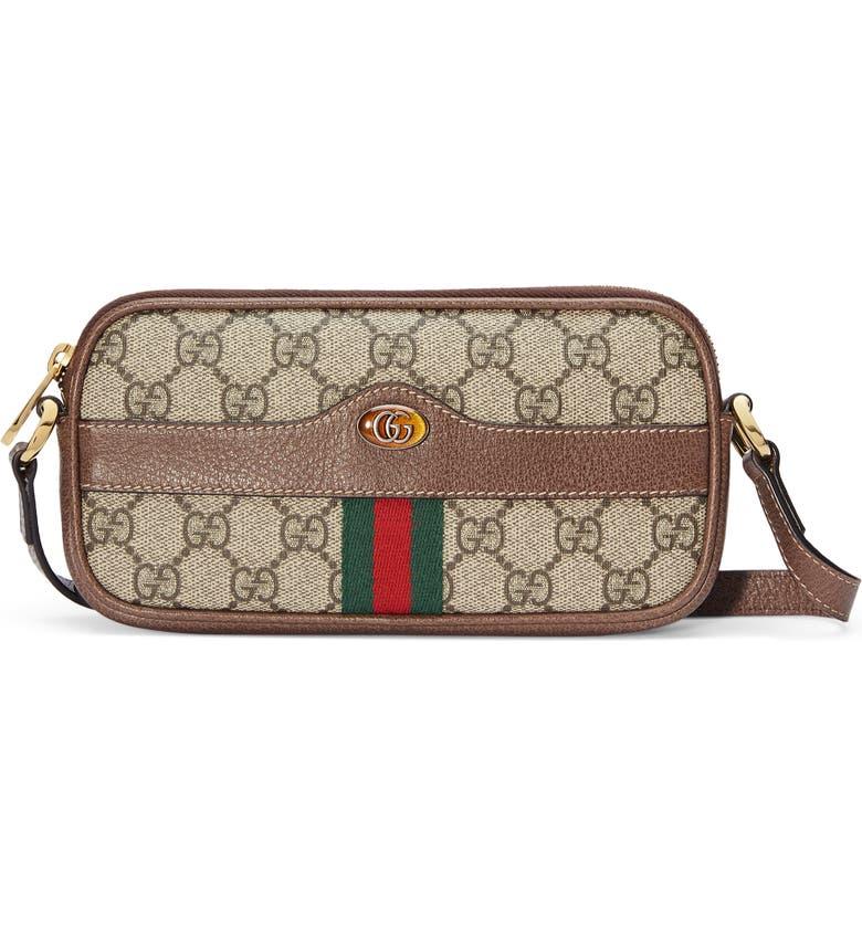 GUCCI Mini Ophidia GG Supreme Canvas Crossbody Bag, Main, color, BEIGE EBONY/ACERO/ VERT RED