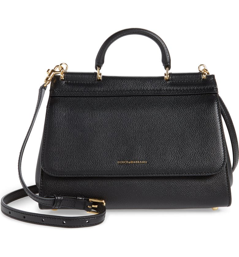 DOLCE&GABBANA Large Miss Sicily Top Handle Leather Satchel, Main, color, NERO