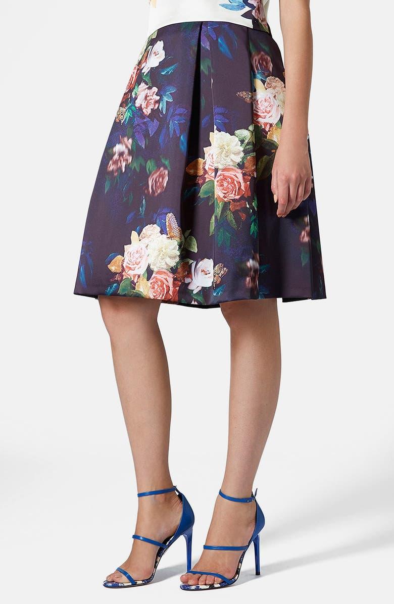 TOPSHOP Blur Rose Print Midi Skirt, Main, color, 410
