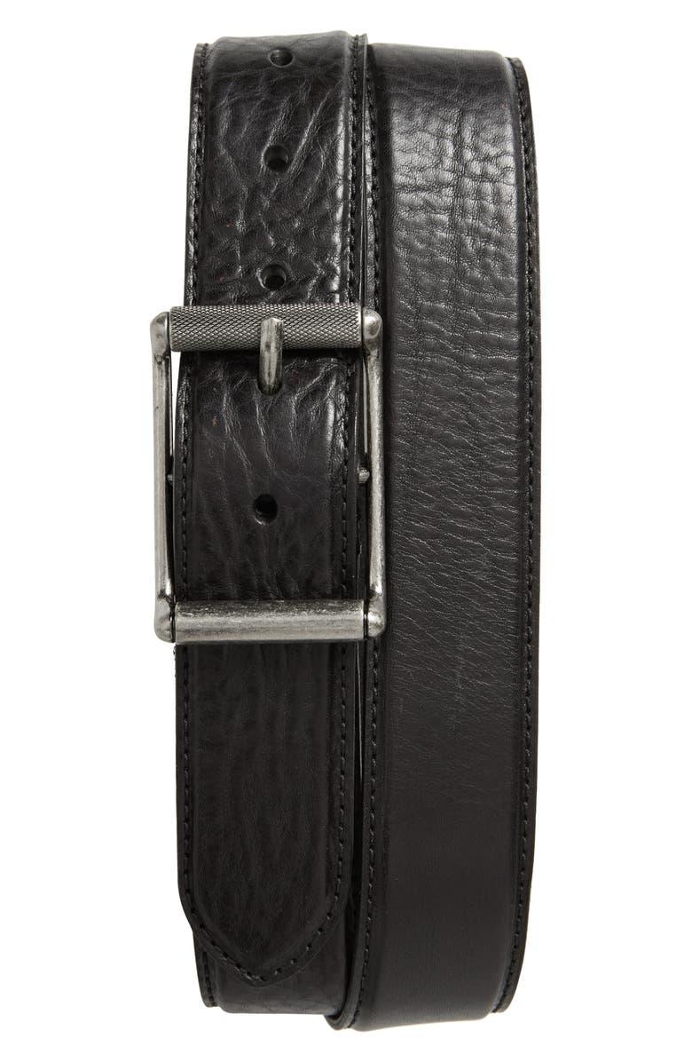 FRYE Pressed Edge Leather Belt, Main, color, BLACK