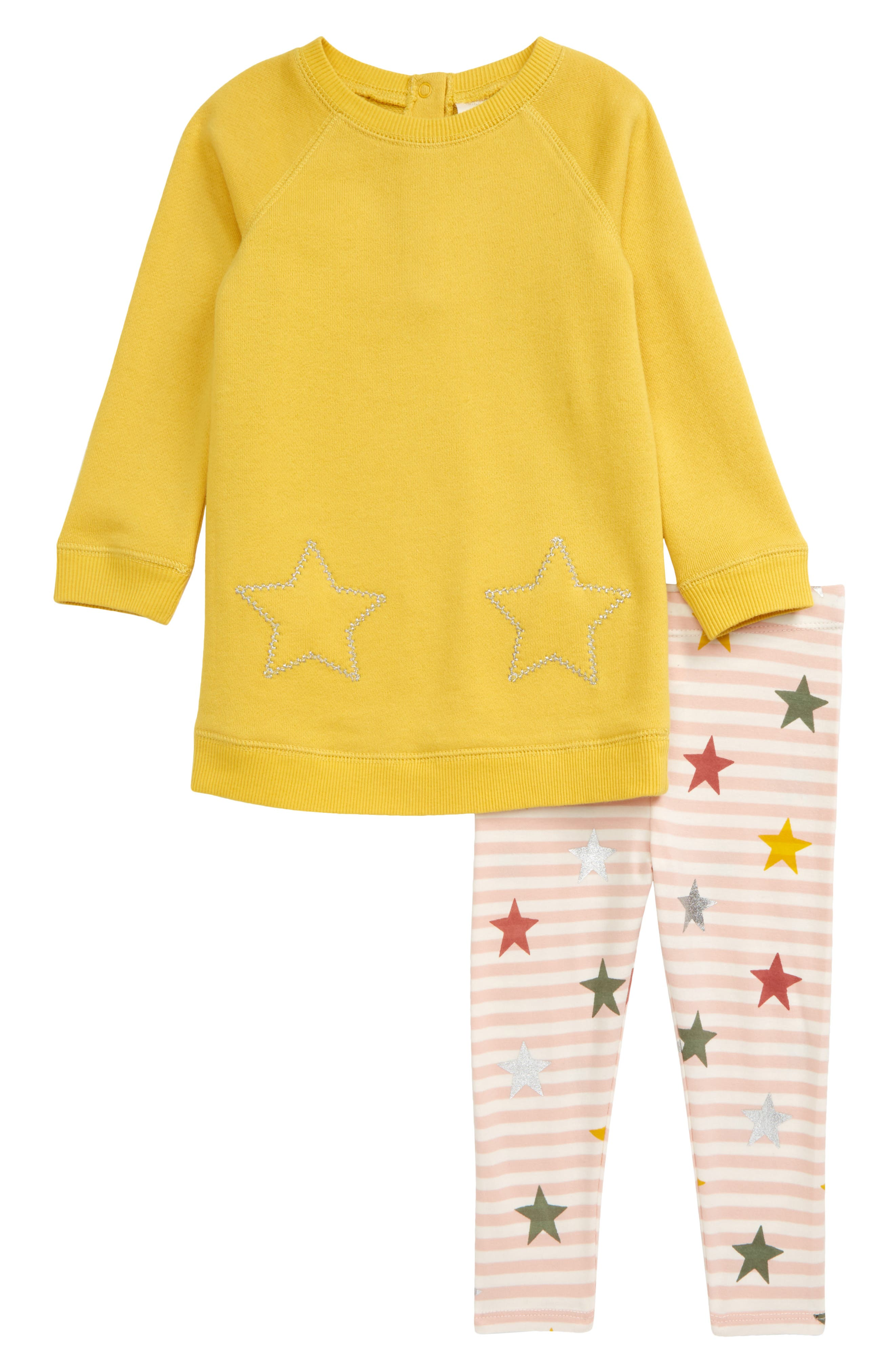 Heathered French terry brings supremely cozy comfort to a sweatshirt-dress sporting embroidered hearts that coordinate with heart-covered striped leggings. Style Name: Tucker + Tate Fleece Dress & Leggings Set (Baby). Style Number: 5781030. Available in stores.