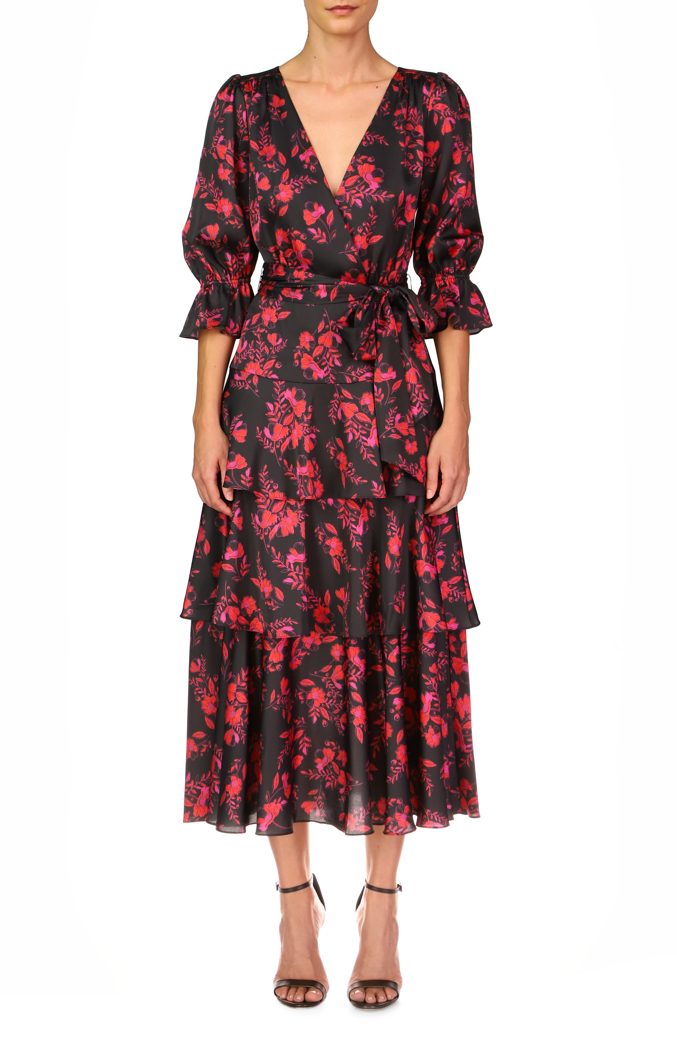 Floral Tiered Faux Wrap Dress