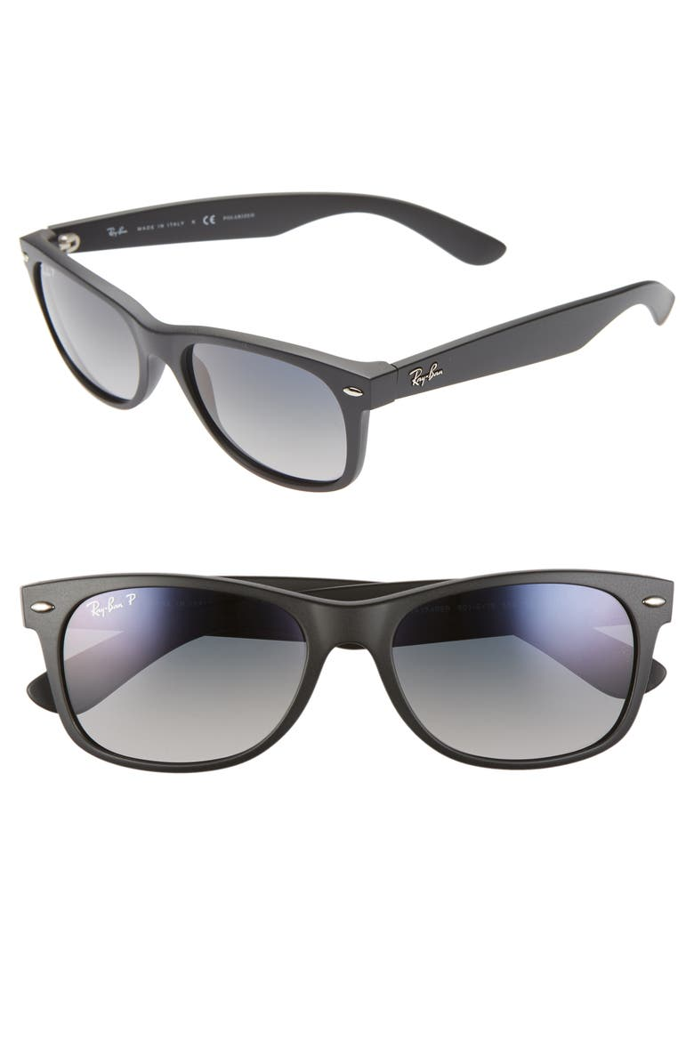 RAY-BAN 'New Wayfarer' 55mm Polarized Sunglasses, Main, color, 003