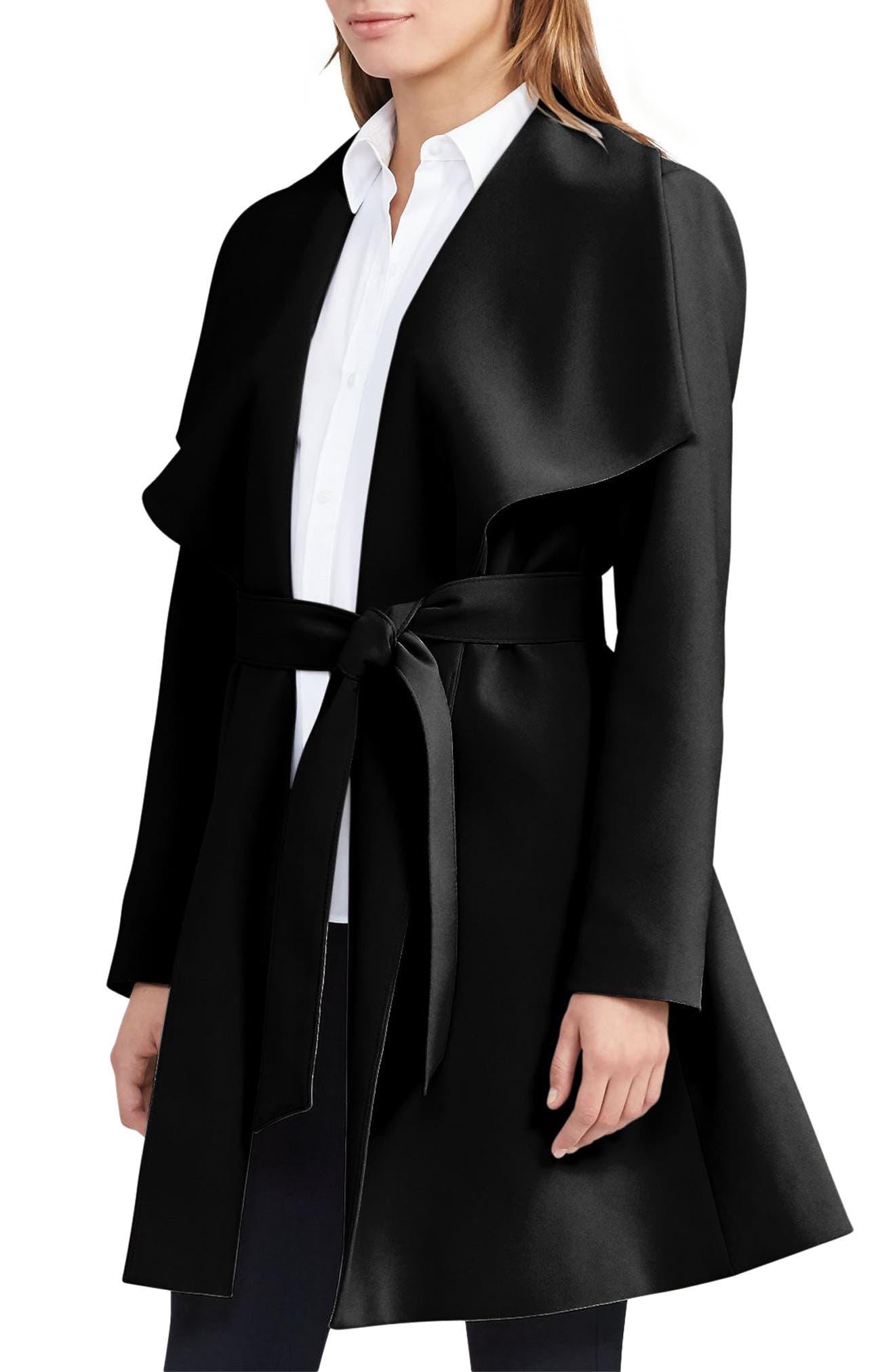 ,                             Belted Crepe Wrap Coat,                             Main thumbnail 1, color,                             BLACK