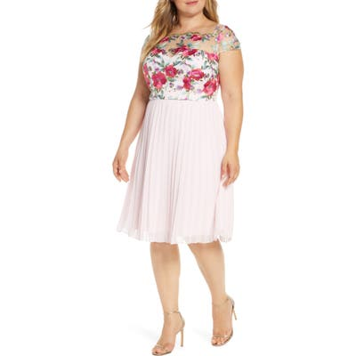 Plus Size Chi Chi London Curve Lydie Floral Embroidered Cocktail Dress, Pink