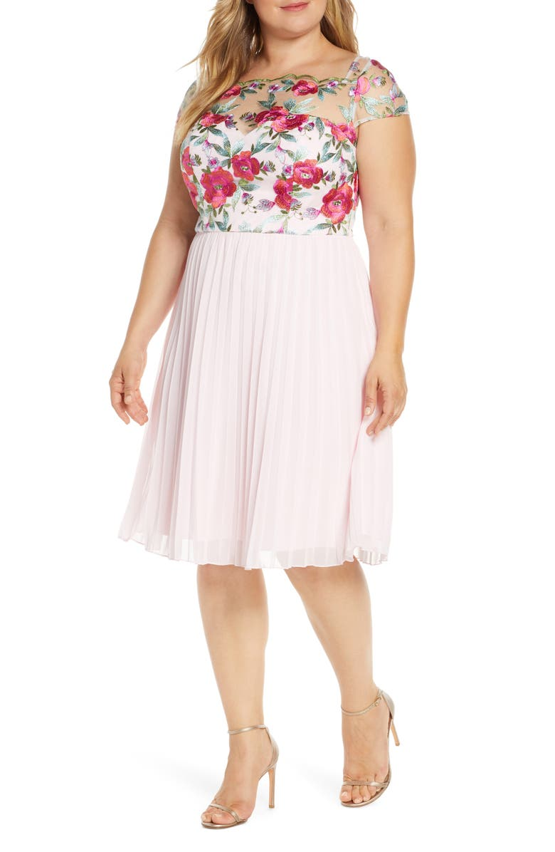 CHI CHI LONDON Curve Lydie Floral Embroidered Cocktail Dress, Main, color, PINK