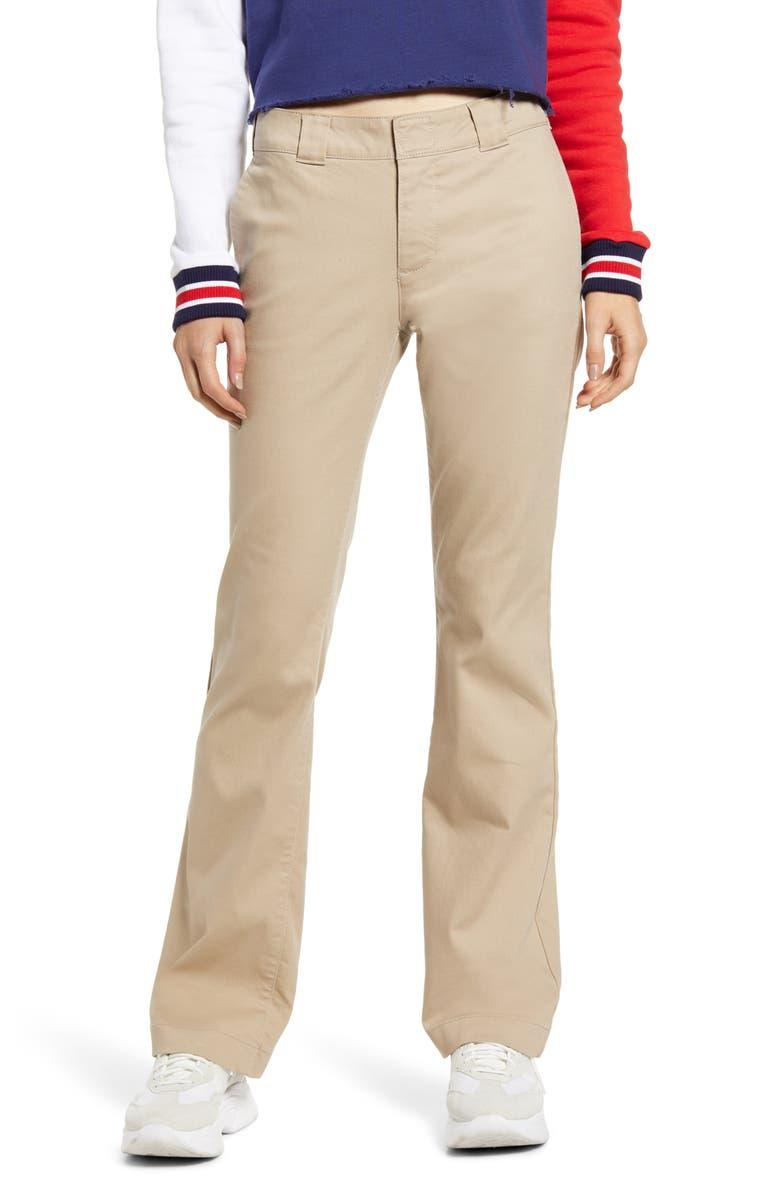 DICKIES Flex Bootcut Trousers, Main, color, KHAKI