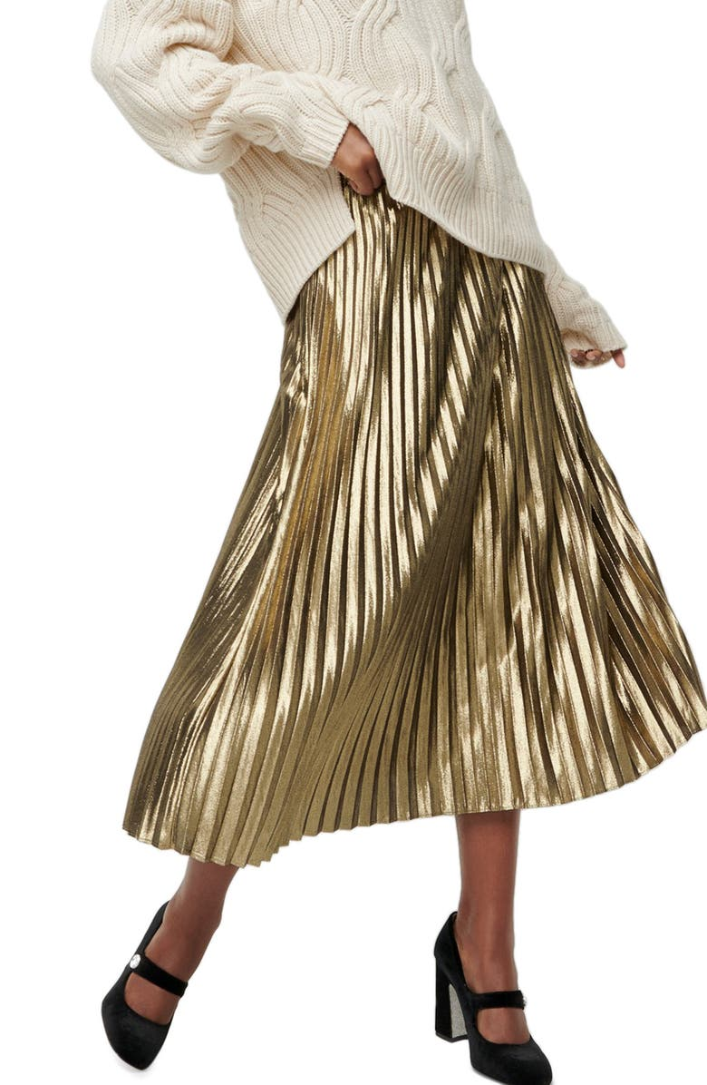 J.CREW Pleated Chiffon Lamé Midi Skirt, Main, color, METALLIC GOLD