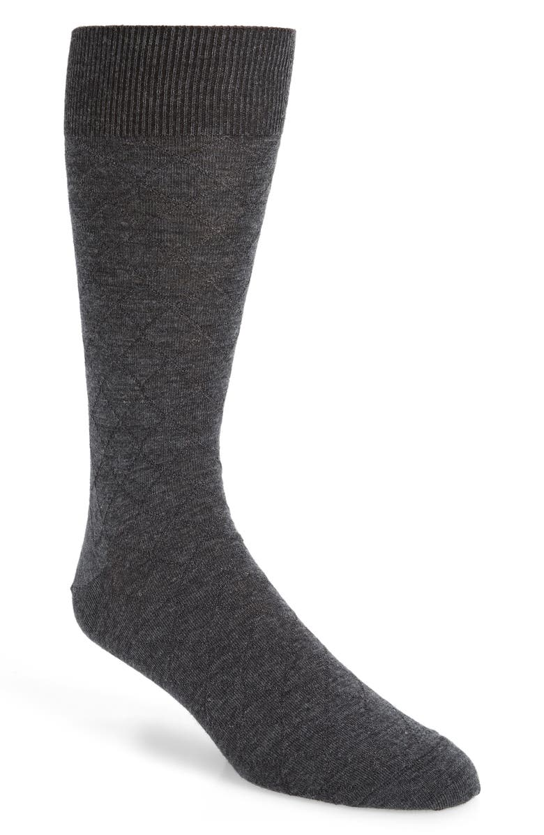 NORDSTROM SIGNATURE Diamond Merino Wool Blend Dress Socks, Main, color, CHARCOAL HEATHER