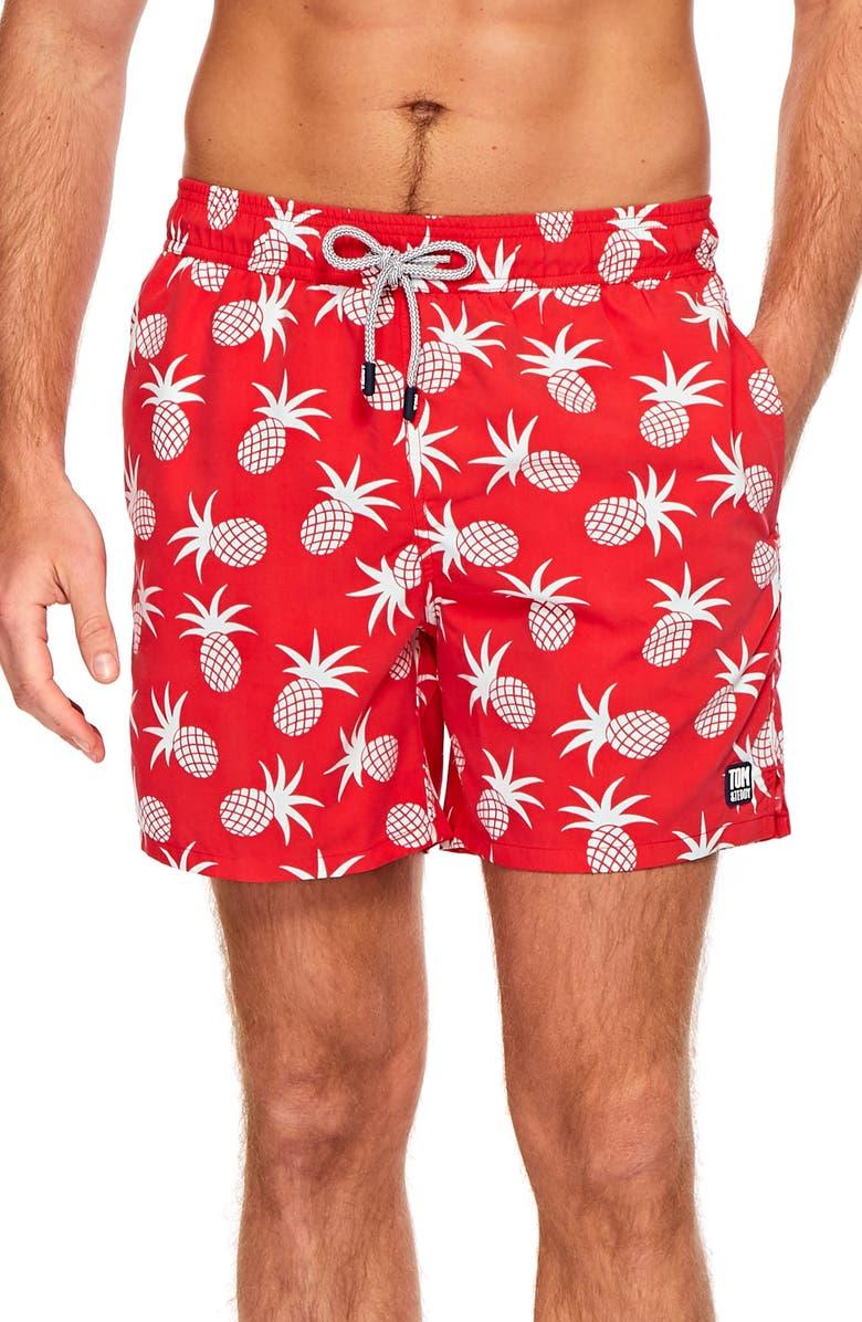 TOM & TEDDY Pineapple Print Swim Trunks, Main, color, BLUE/ CRIMSON