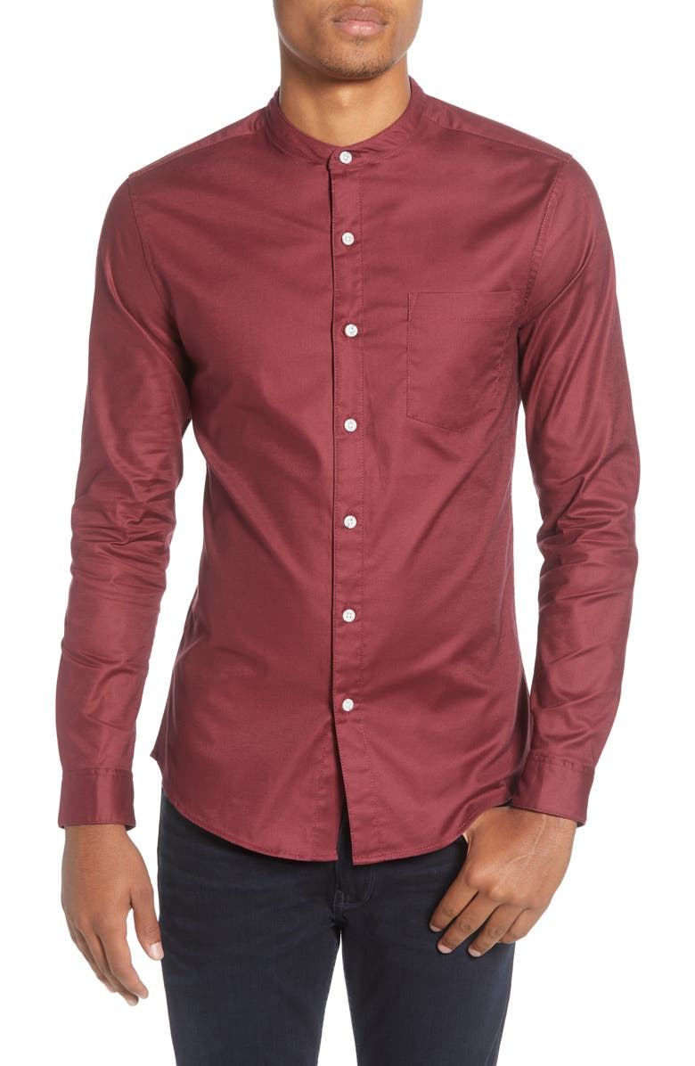 TOPMAN Slim Fit Band Collar Oxford Button-Up Shirt, Main, color, BURGUNDY