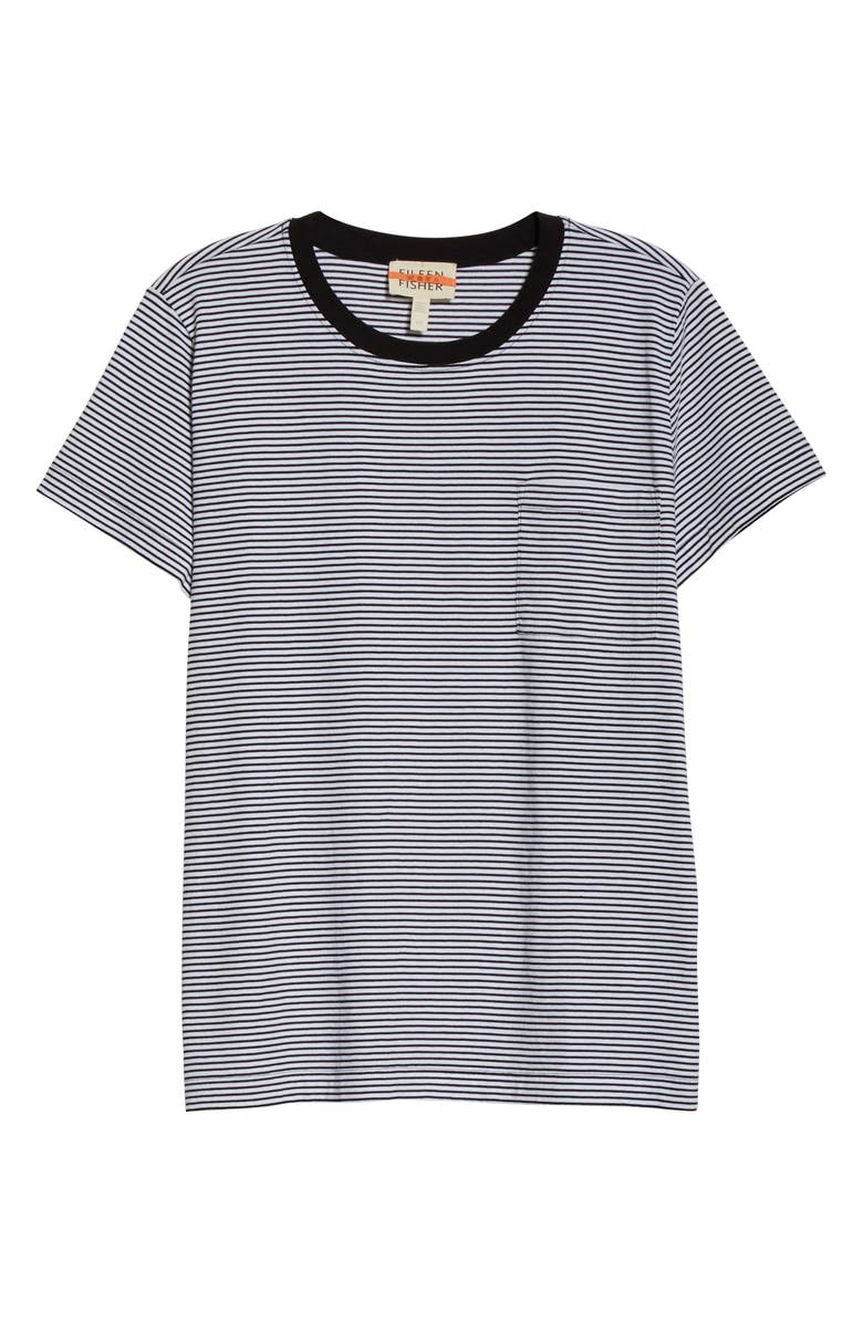 EILEEN FISHER Stripe Organic Cotton Jersey Top, Main, color, WHITE/ BLACK