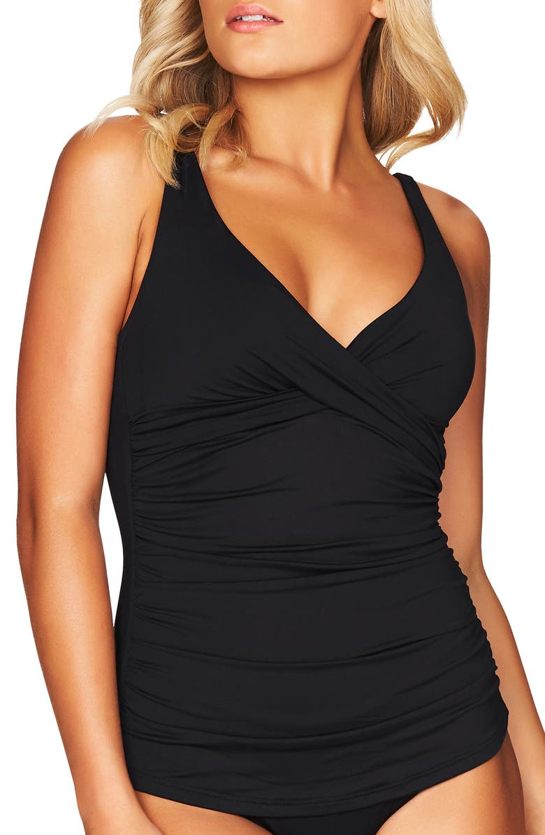 SEA LEVEL Cross Front Tankini Top, Main, color, BLACK