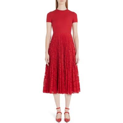 Valentino Pleated Lace Midi Dress, US / 42 IT - Red