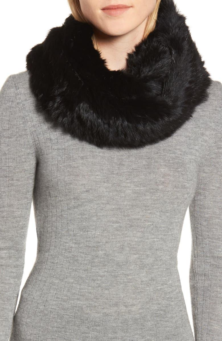 JOCELYN Genuine Rabbit Fur Infinity Scarf, Main, color, 002