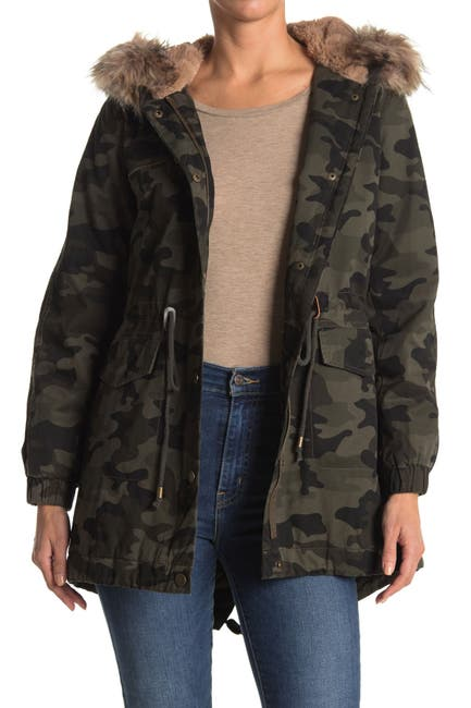 Image of Lucky Brand Faux Fur Trim Hooded Anorak Jacket
