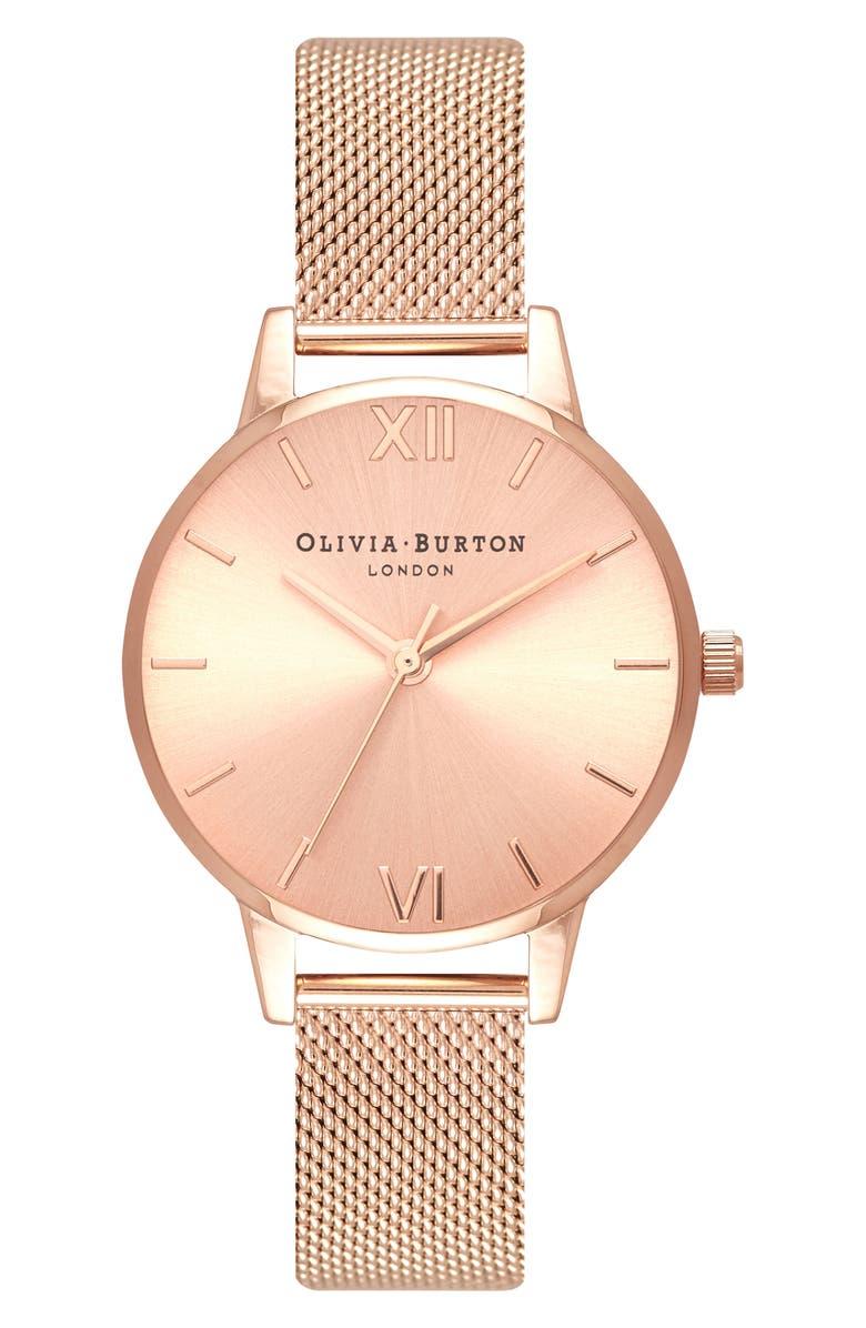 OLIVIA BURTON Sunray Mesh Strap Watch, 30mm, Main, color, ROSE GOLD