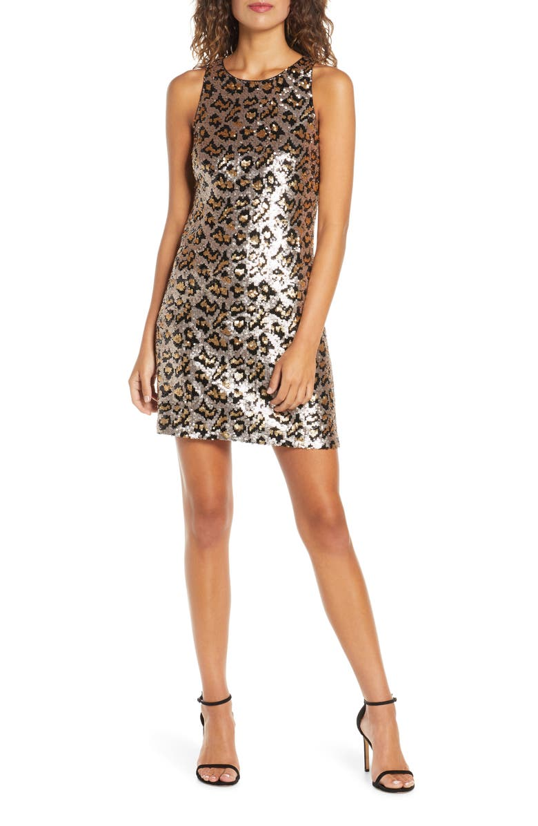 ALI & JAY Rawr Leopard Sequin Minidress, Main, color, LEOPARD