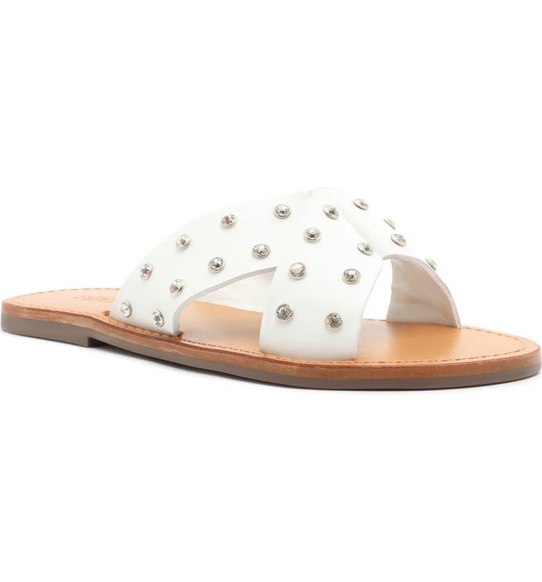 SCHUTZ Marilu Studded Sandal, Main, color, WHITE LEATHER