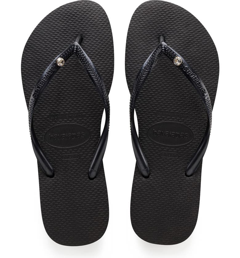 HAVAIANAS 'Slim Crystal Glamour' Flip Flop, Main, color, BLACK