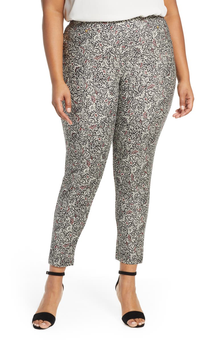 MICHAEL MICHAEL KORS Boho Block Print Pull-On Stretch Cotton Pants, Main, color, BLACK/ MAROON