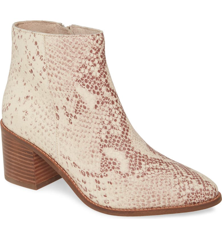 SEYCHELLES For the Occasion Bootie, Main, color, NATURAL SNAKE PRINT