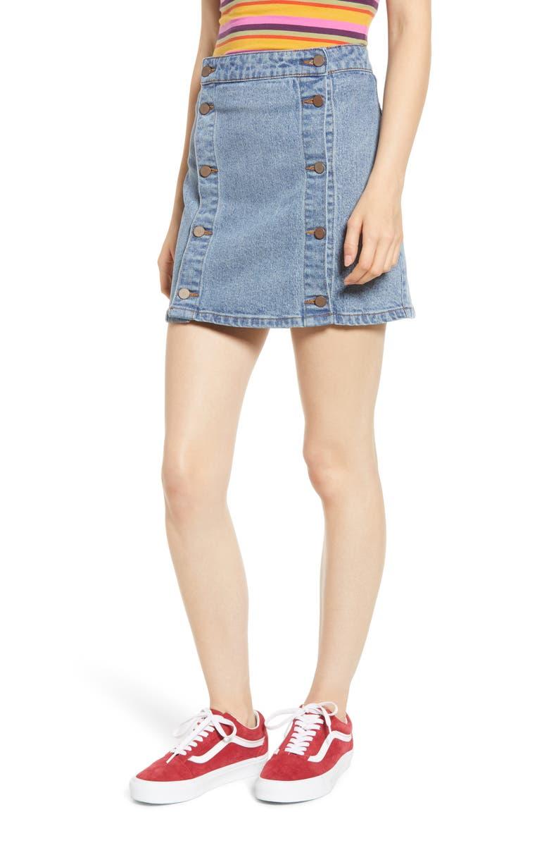 PROSPERITY DENIM Double Button Denim Skirt, Main, color, MEDIUM WASH