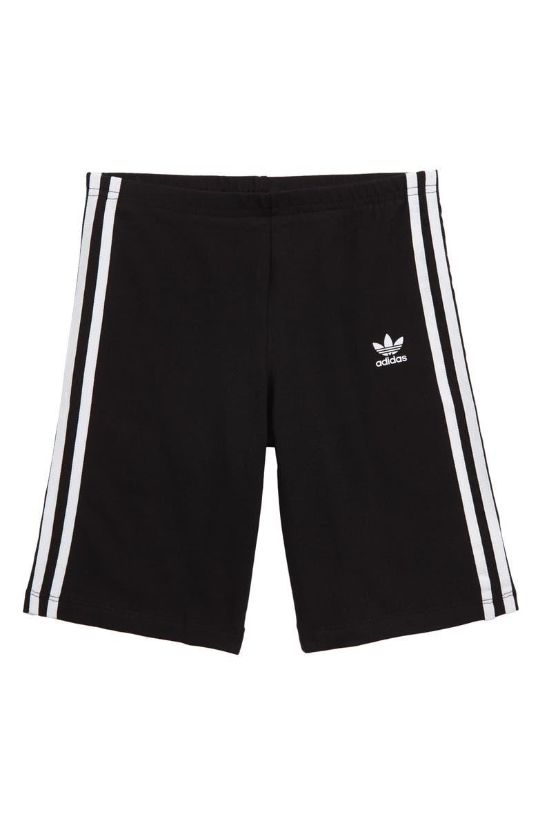 ADIDAS ORIGINALS 3-Stripes Cycling Shorts, Main, color, BLACK/ WHITE